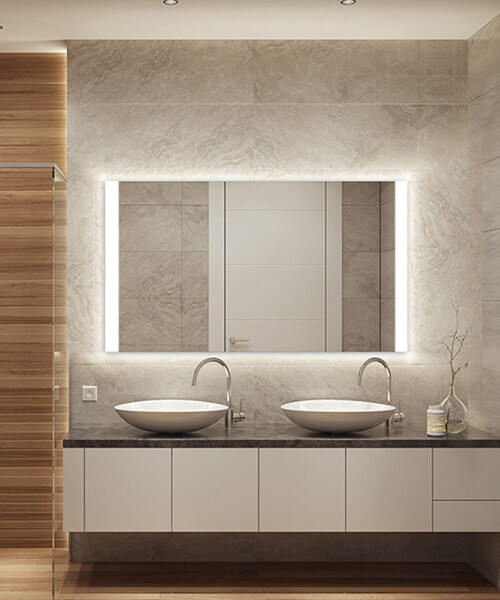 Nuria with Wall Glow LED Lighted Mirror by Cordova Mirrors